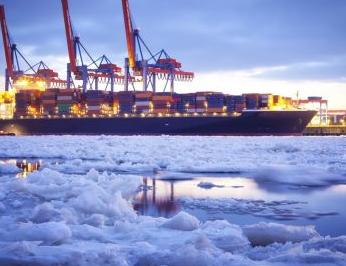 Container Ship in Port w Ice